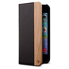 Milan Leather Wood Wallet Folio case iPhone 5 5s MarBlue